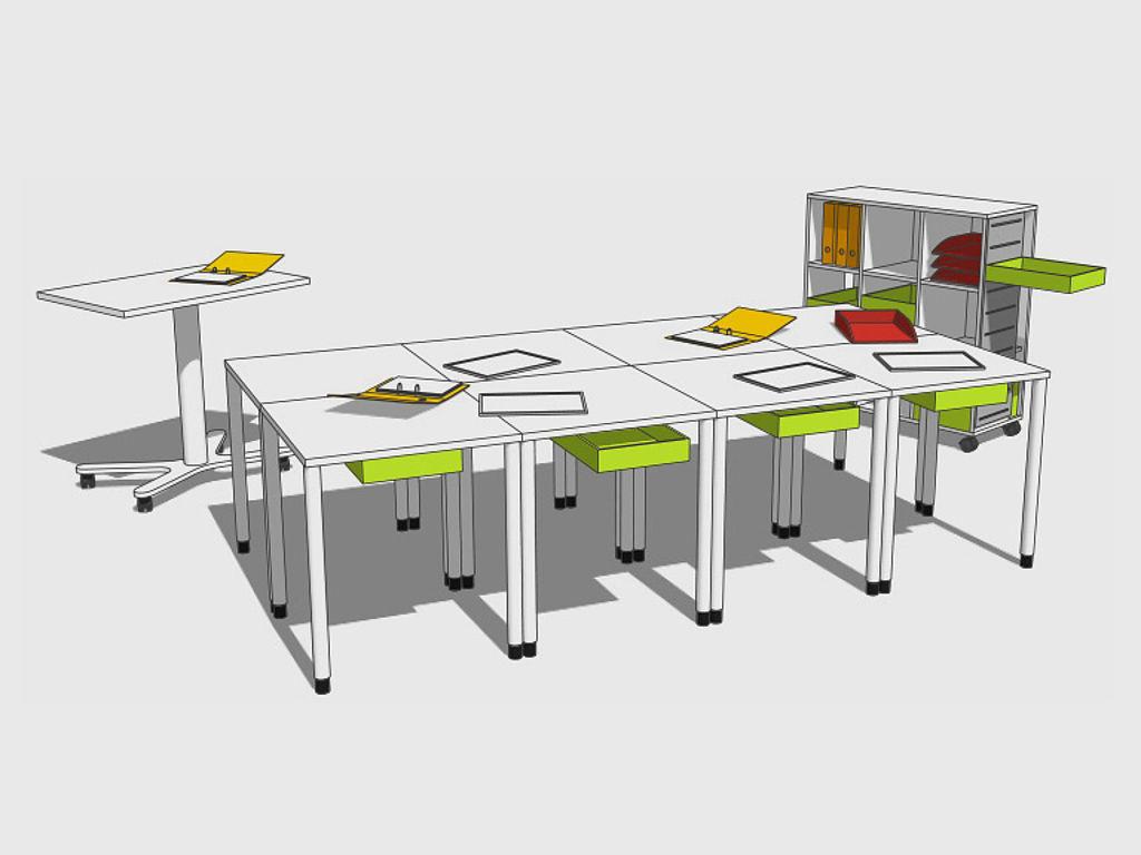 Скетч школьной мебели: сгруппированные столы
