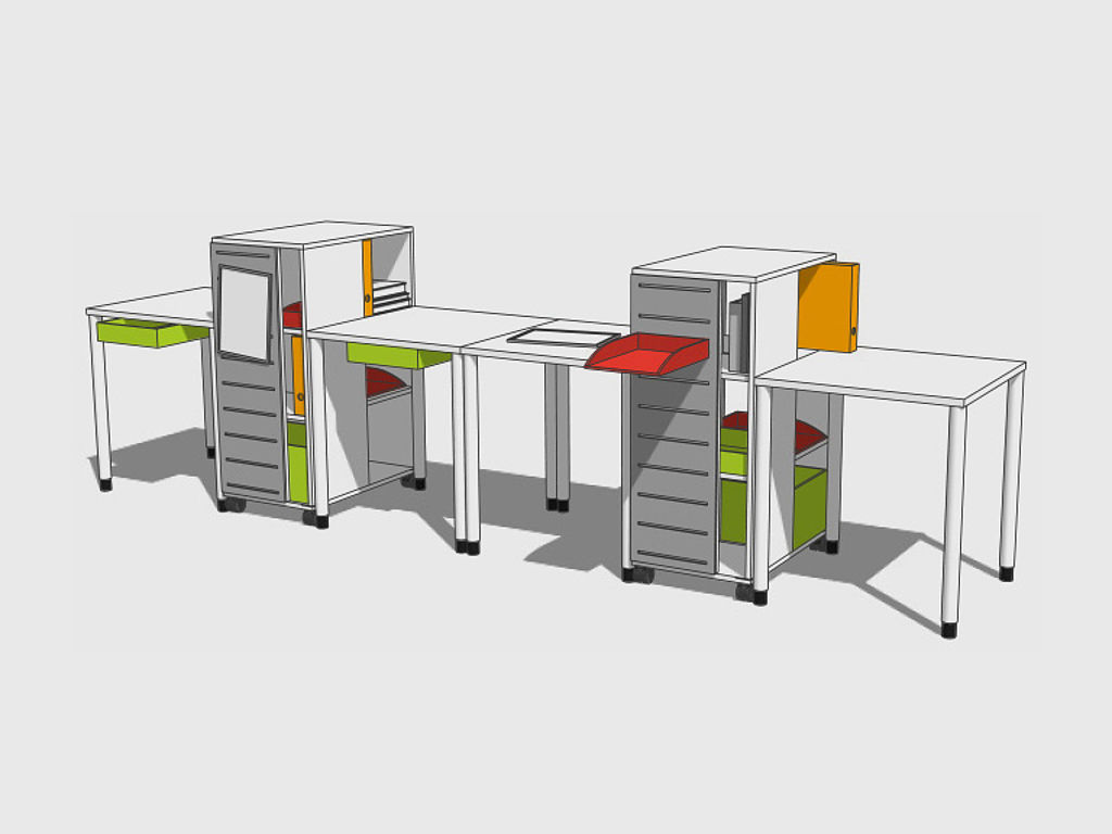 Sketch of learning furniture: desks with movable cabinets