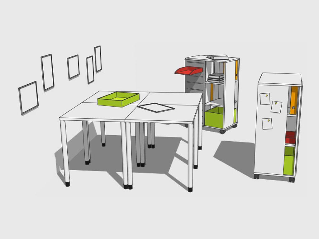 Скетч школьной мебели: 4 стола